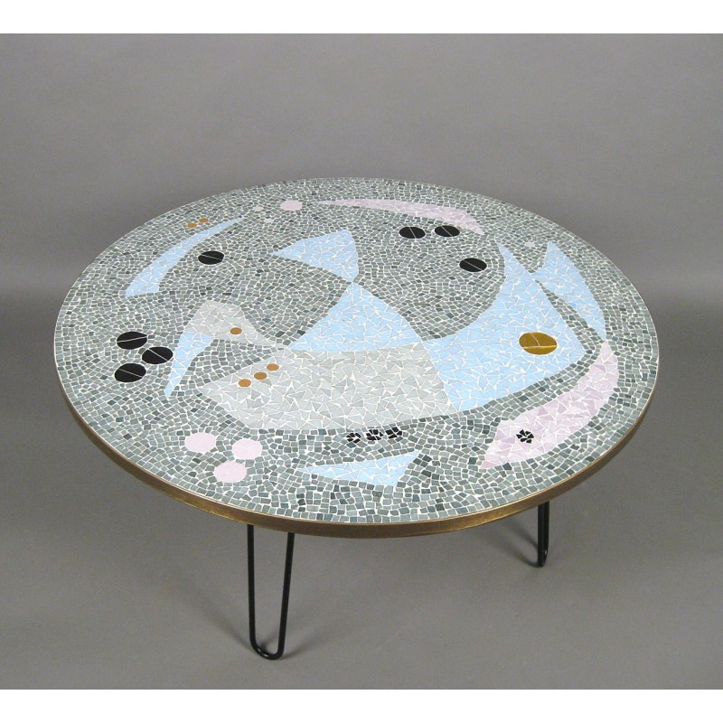 Large Vintage Circular Coffee Table With Legs In Br And Mosaic 1950s Design Market