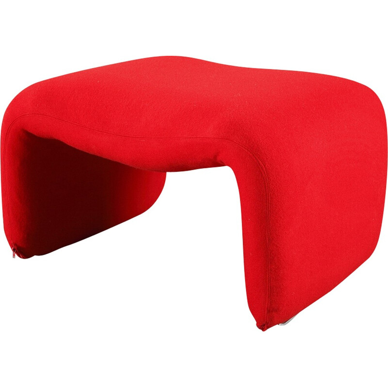 "Vintage Ottoman ""Djinn"" red by Olivier Mourgue for Airborne - 1960s"