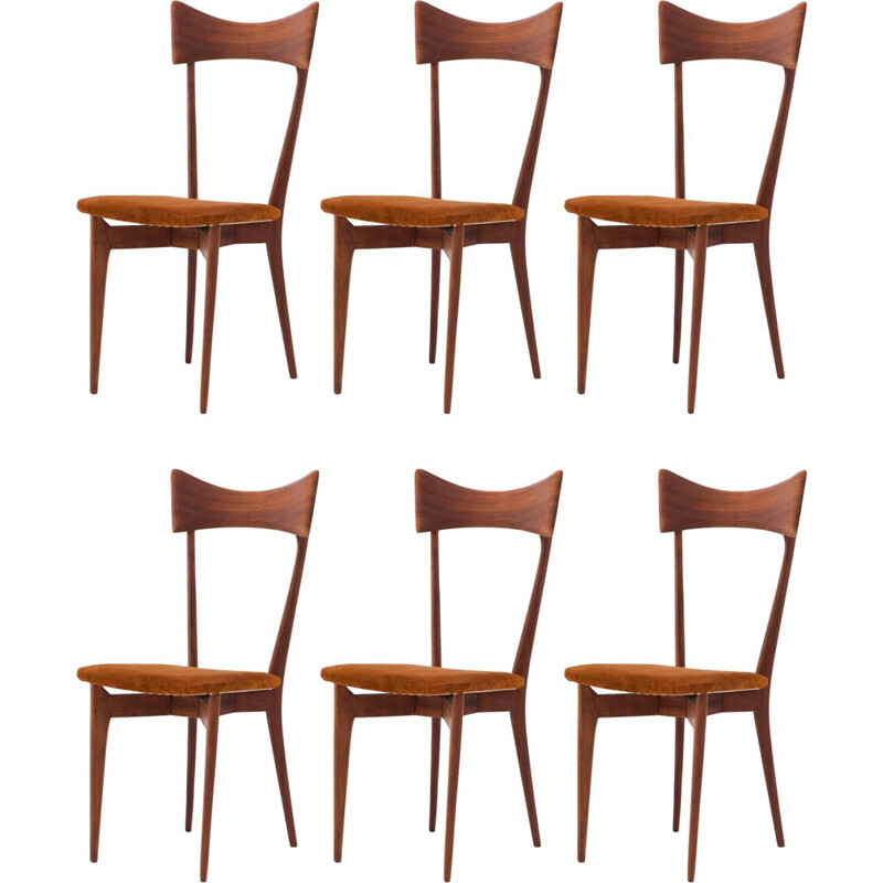 Vintage set of 6 Italian dining chairs in leather and mahogany by Ico Parisi - 1950s