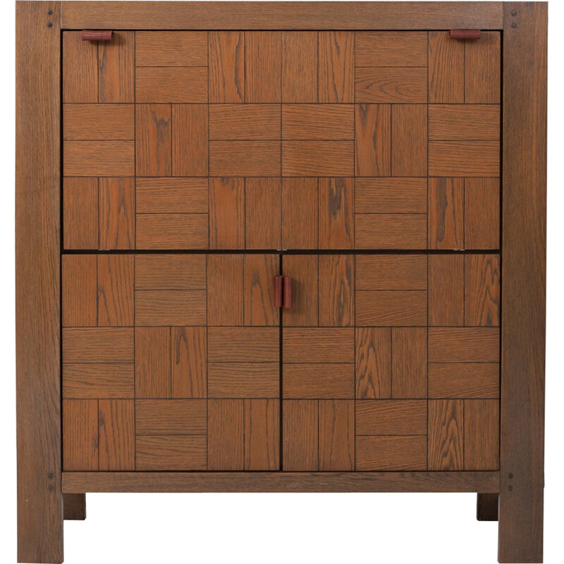 Vintage brutalist cabinet In stained oak - 1970s