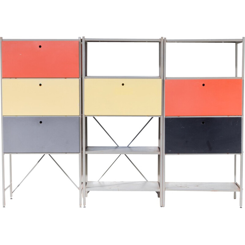 "Wall unit ""model 663"" in 3 blocks by Wim Rietveld for Gispen - 1950s"