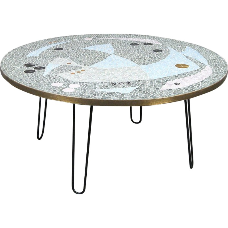Large Vintage Circular Coffee Table With Legs In Br And Mosaic 1950s