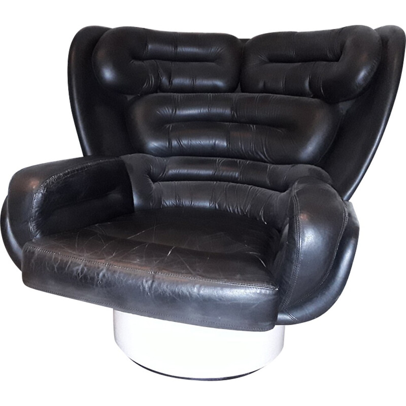 "Vintage ""Elda"" armchair in black leather by Joe Colombo - 1970s"