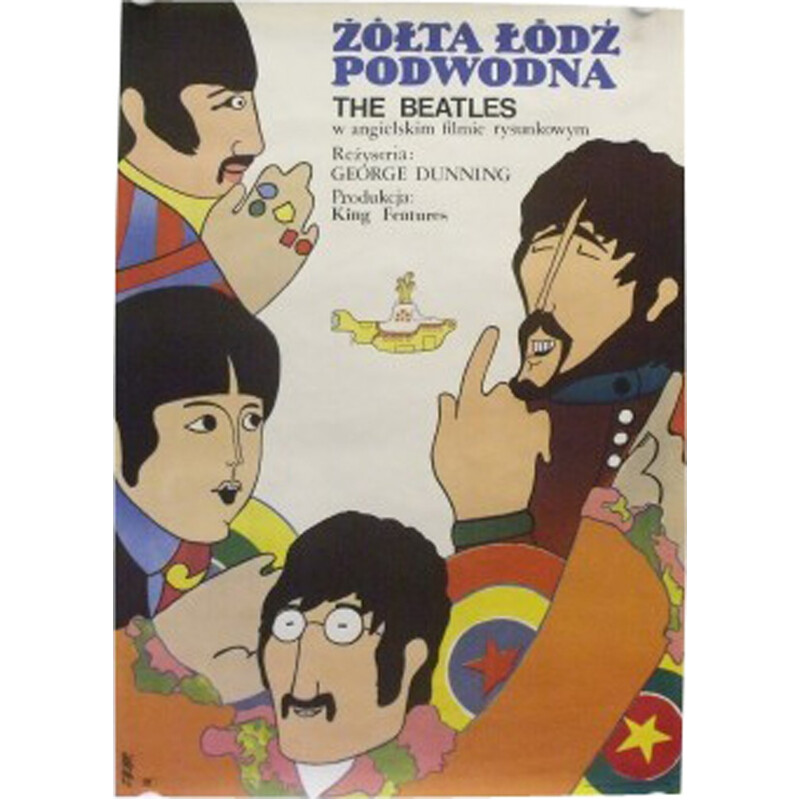 """Original polonese """"Yellow submarine Beatles"""" Poster by Zbobr - 1960s"""