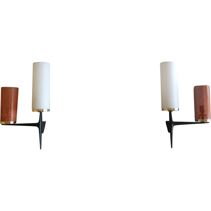 "Set of 2 Vintage Wall lamps ""Cylinder"" for Arlus - 1950s"