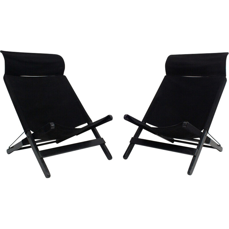 Set of 2 Vintage Black Canvas Folding Chairs - 1970s
