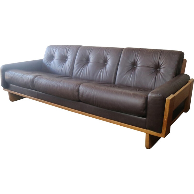 Danish vintage sofa in leather with oak frame - 1970s
