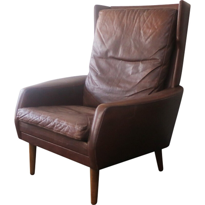 Danish vintage brown leather high back armchair - 1970s