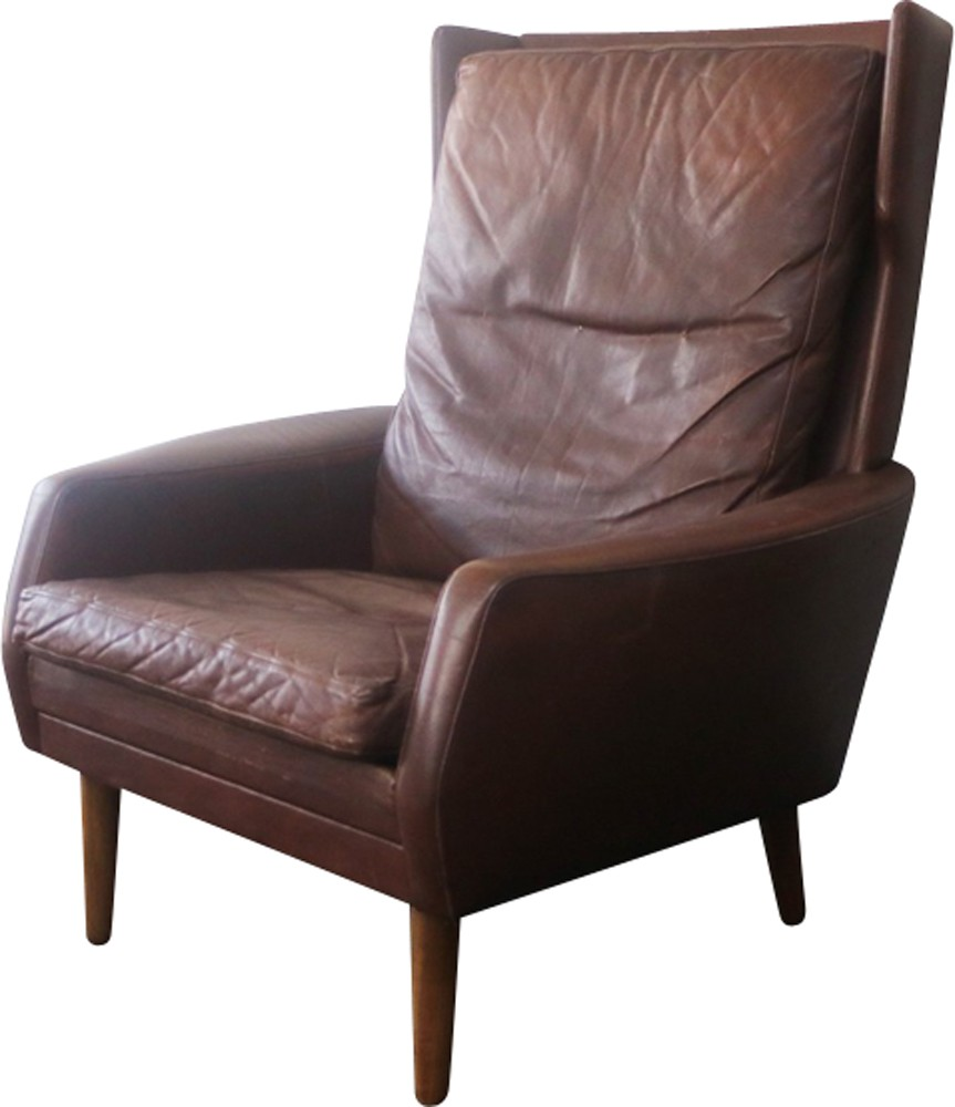 Danish vintage brown leather high back armchair - 1970s ...
