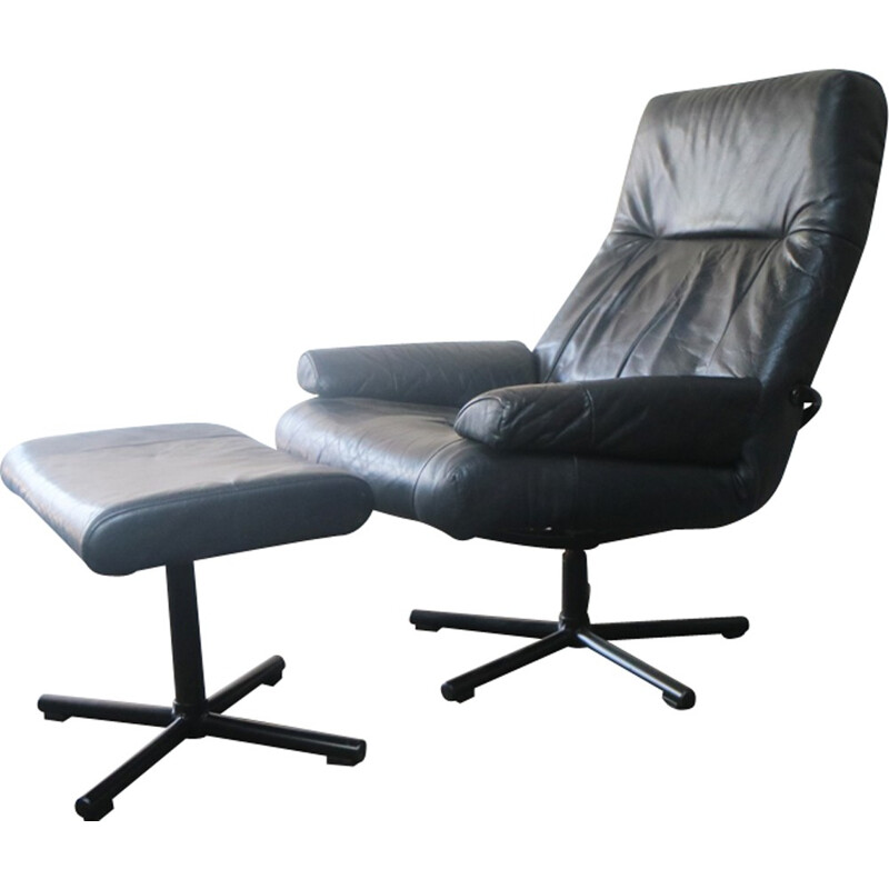 Vintage danish black leather reclining armchair and footstool - 1970s