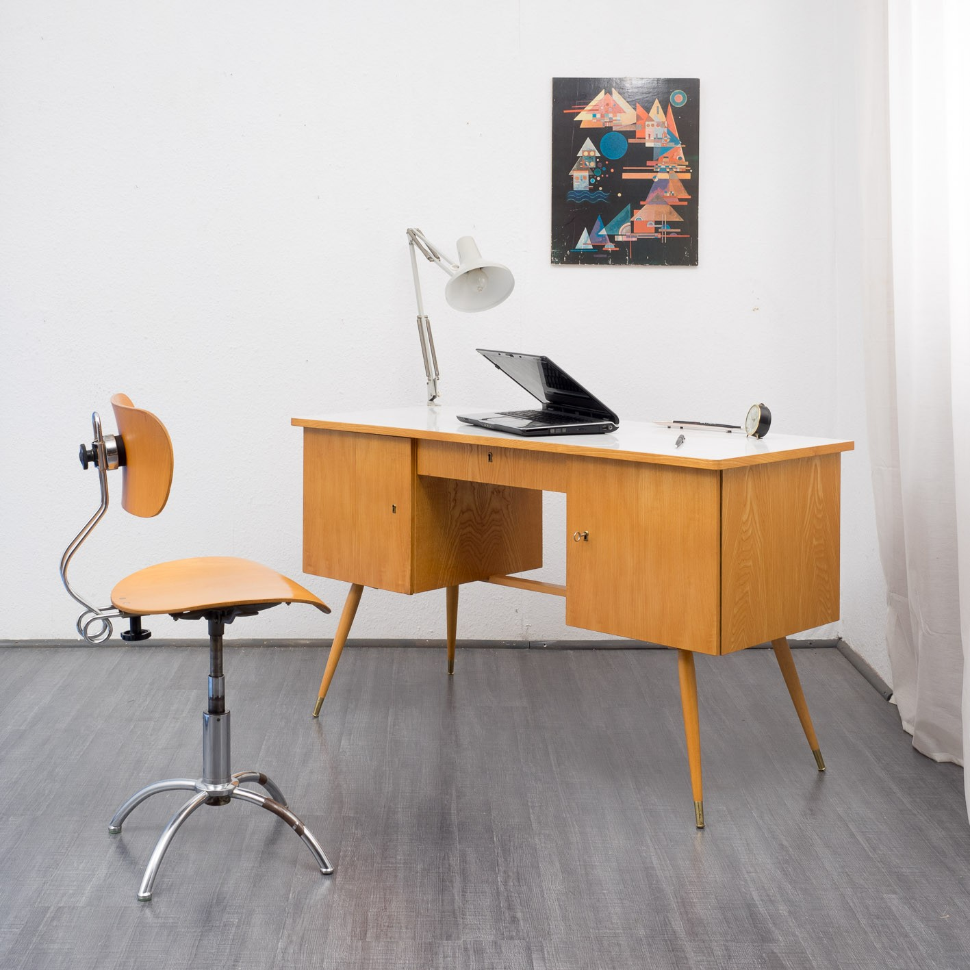 Vintage Desk Chair In Plywood And Metal 1950s Previous Next