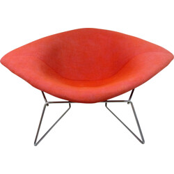 Diamond chair in chrome and red fabric, Harry BERTOIA - 1970s