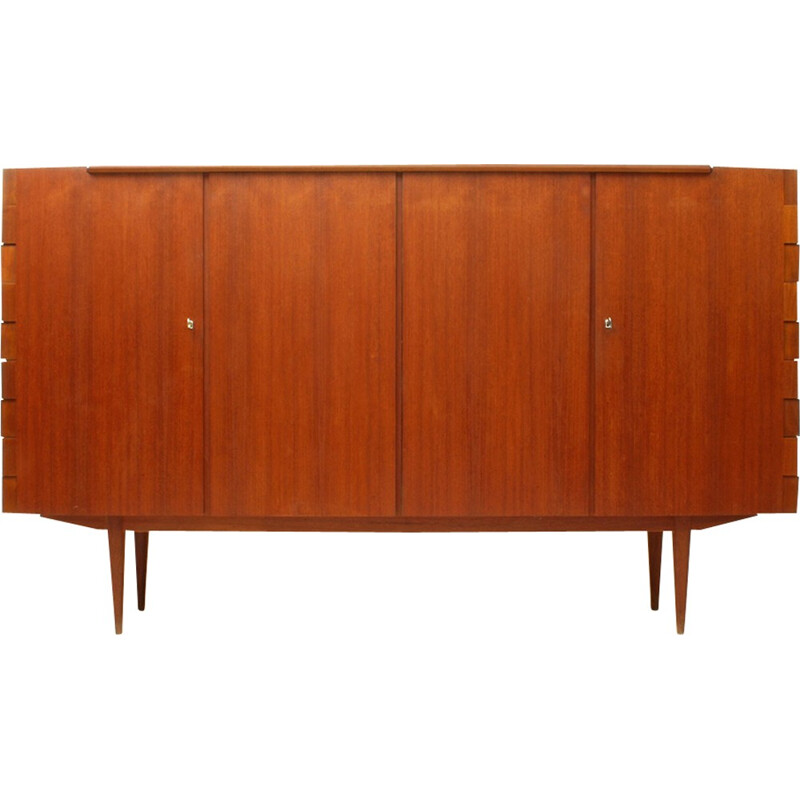 Highboard With Particular Hinge-Joints in Teak - 1960s