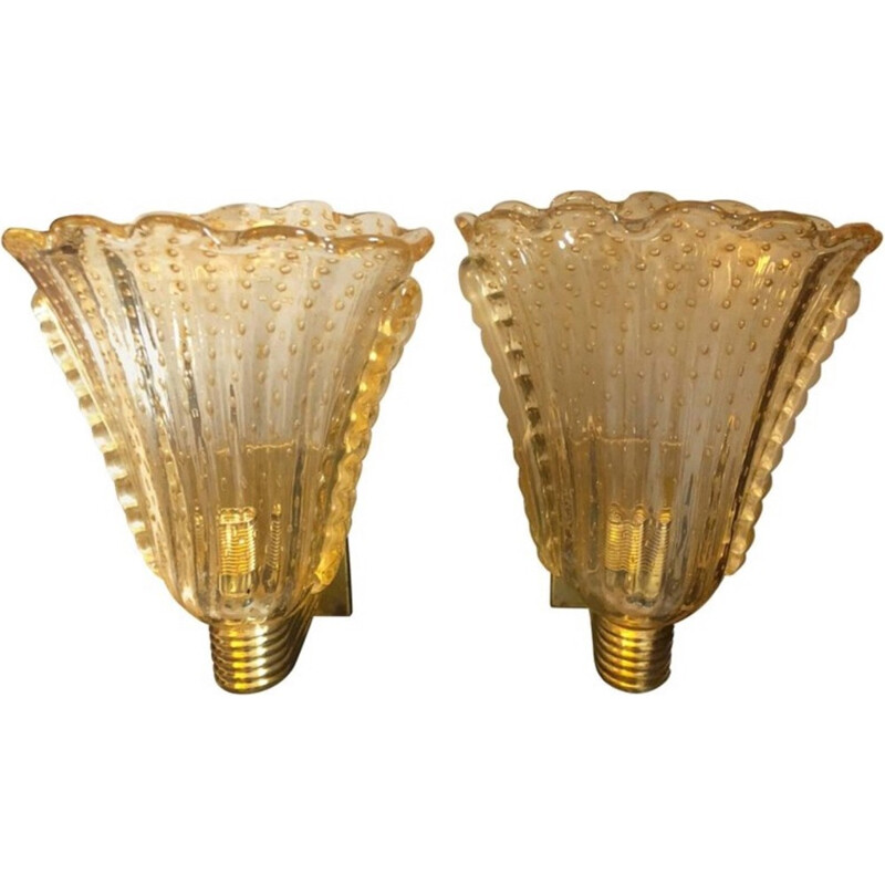 Set of 2 Wall Sconces in  Murano Glass - 1970s