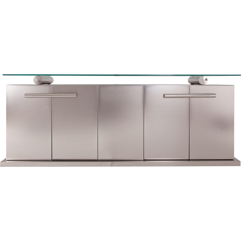 Belgo Chrom Sideboard With Floating Glass In Brushed Stainless Steel - 1970s