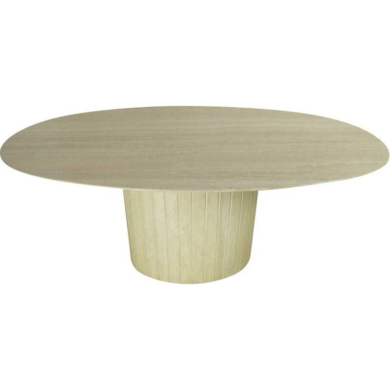 Vintage oval travertine table - 1970s