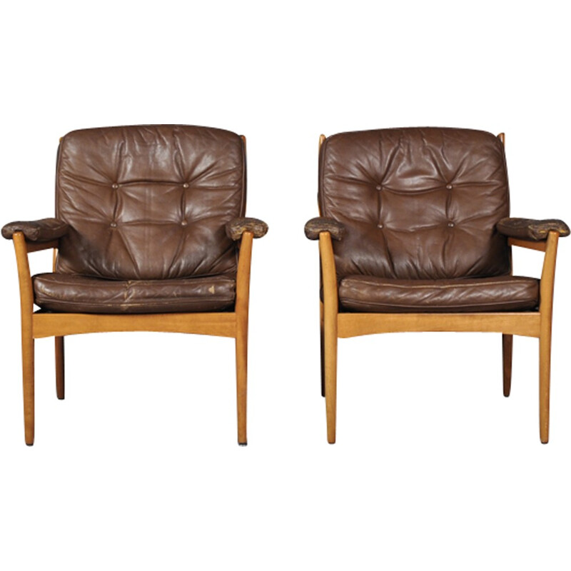 "Pair of ""Carmen"" Leather Armchairs by Gote Mobler - 1970s"
