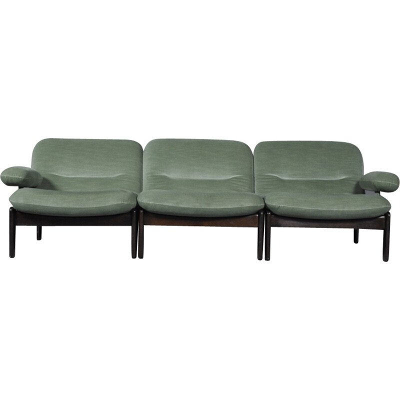 Vintage Sectional Green Mint Sofa by Leolux - 1970s