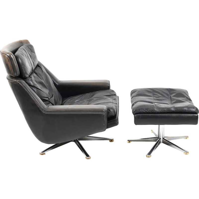 Danish Leather Swivel Lounge Chair and Ottoman by Werner Langenfeld for ESA - 1970s