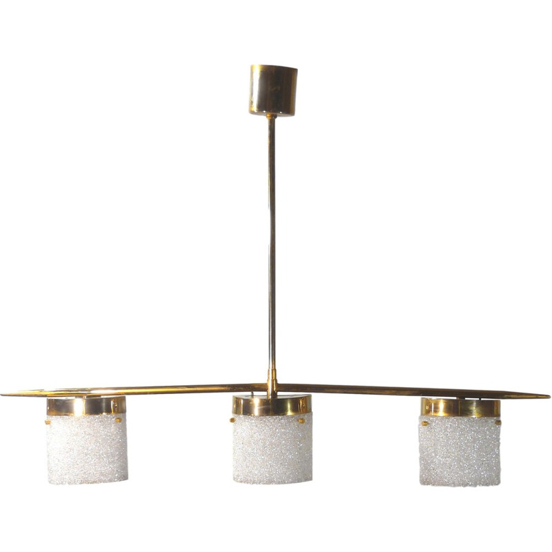 vintage pendant lamp in brass with 3 lights - 1960