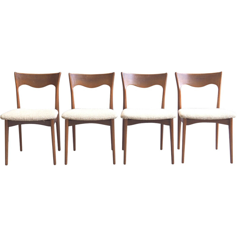 Set of 4 dining chairs in teak for AWA - 1960s