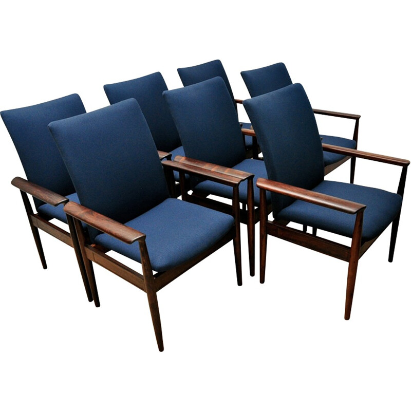 "Set of 7 ""Diplomat"" armchairs by Finn Juhl for France & Son - 1960s"
