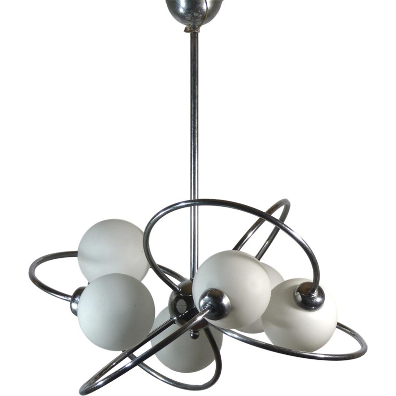"""Vintage """"Space Age"""" pendant lamp in opaline glass - 1970s"""