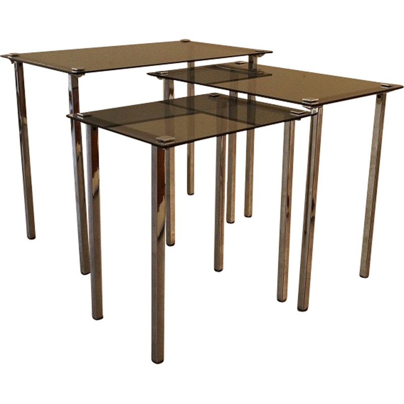 Set of 3 vintage nesting tables in metal and glass - 1970s