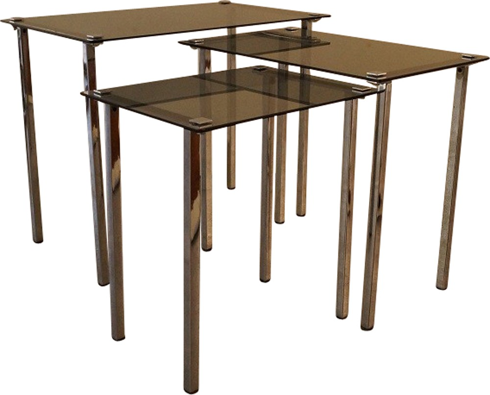 Set Of 3 Vintage Nesting Tables In Metal And Glass