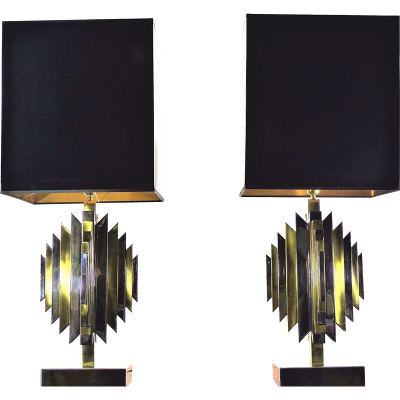 Pair of brass and chrome sculpture lamps by Atelier La Boetie - 1970s