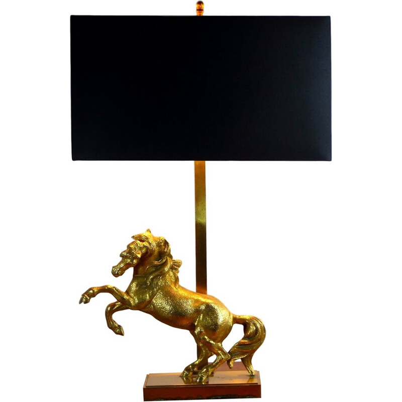 Vintage horse table lamp in gilded bronze - 1970s