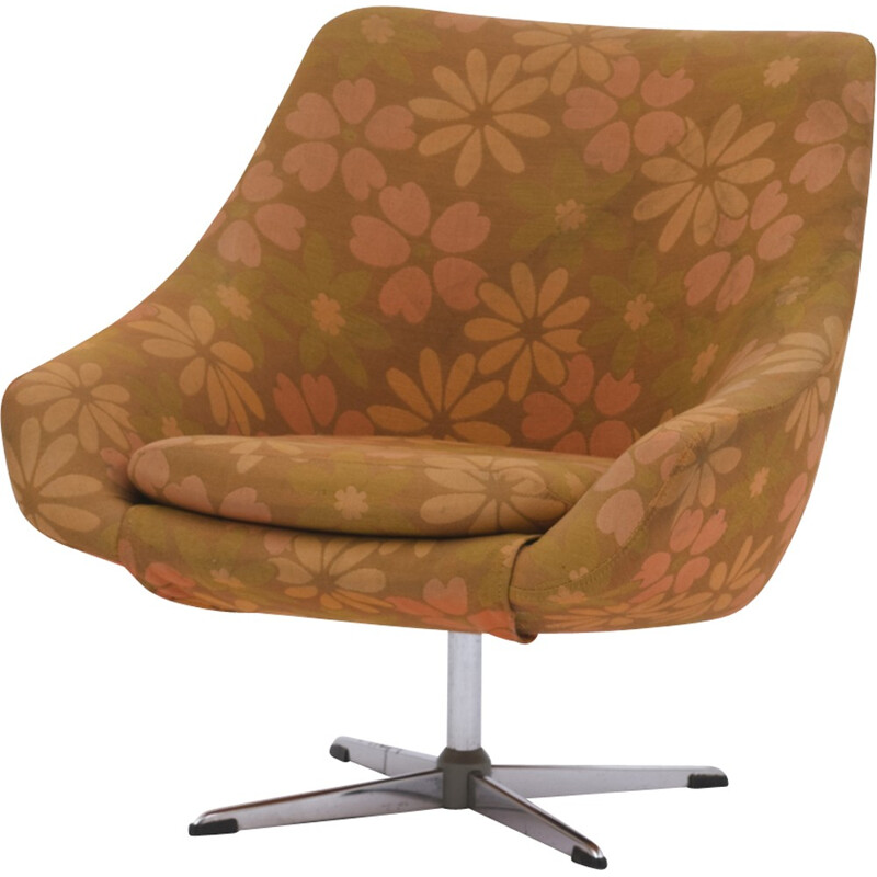 French Vintage Swivel and Metal armchair with flowers - 1970s