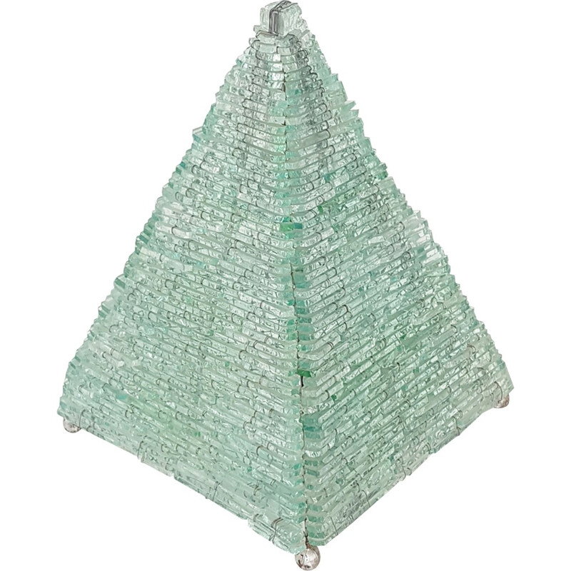 Pyramid Vintage glass and metal lamp  - 1970s