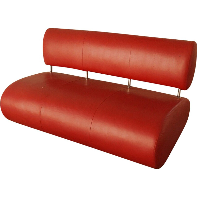 Red leatherette and metal Vintage sofa - 1990s