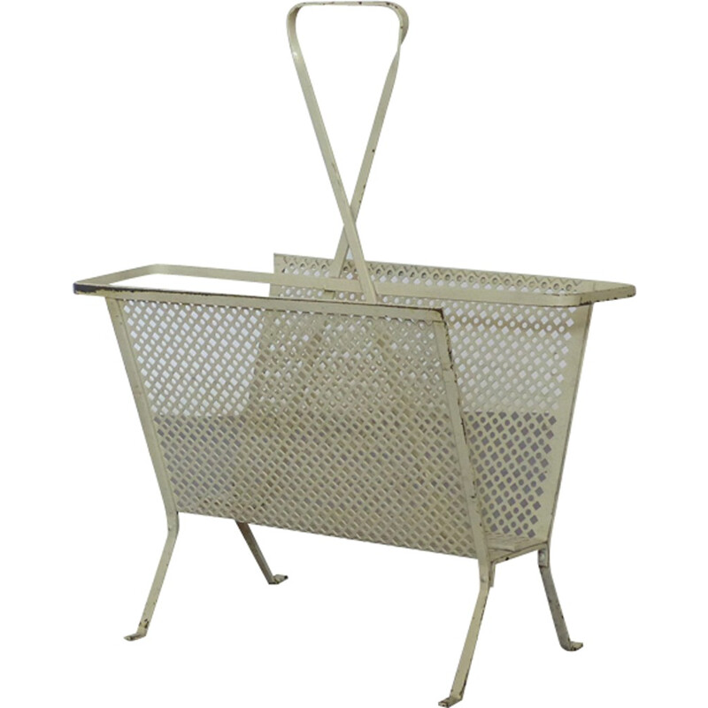 Vintage magazine rack in metal by Mathieu Mategot - 1950s