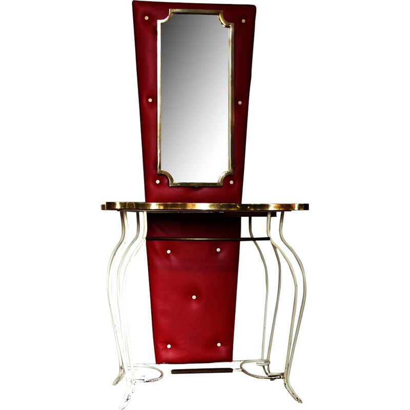 Red and Gold Wrought iron Vintage dressing table - 1950s