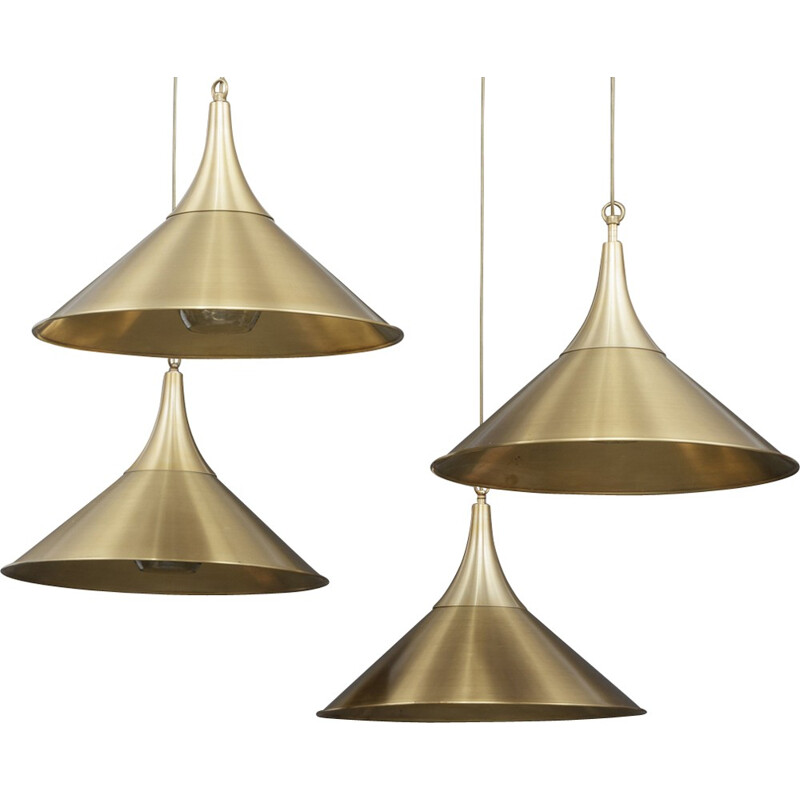 Vintage set of 4 pendant lamps in  brass - 1970s