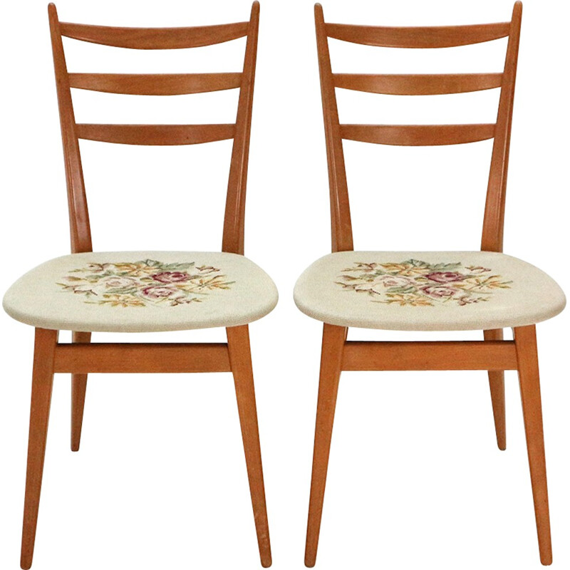 Vintage set of 2 dining chairs in beechwood with floral pattern - 1950s