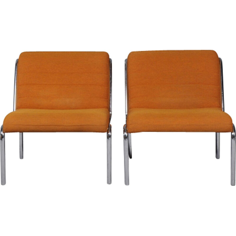 Set of 2 vintage easy chairs in orange fabric - 1970s