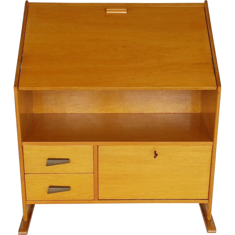 Vintage asymmetrical secretaire in birchwood - 1950s