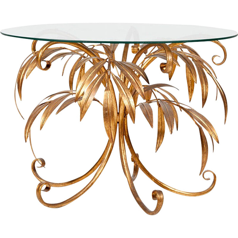 Vintage Gold Palm Tree Coffee Table by Hans Kögl - 1960s