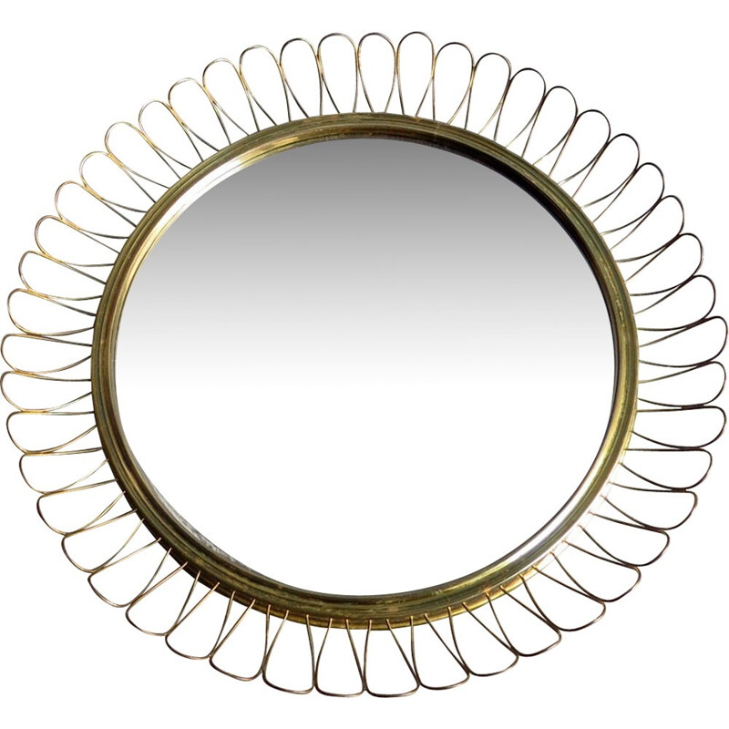 Vintage round mirror with curly brass frame - 1960s