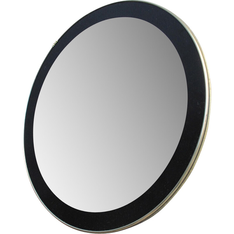 Vintage round mirror with black frame and golden edge - 1960s