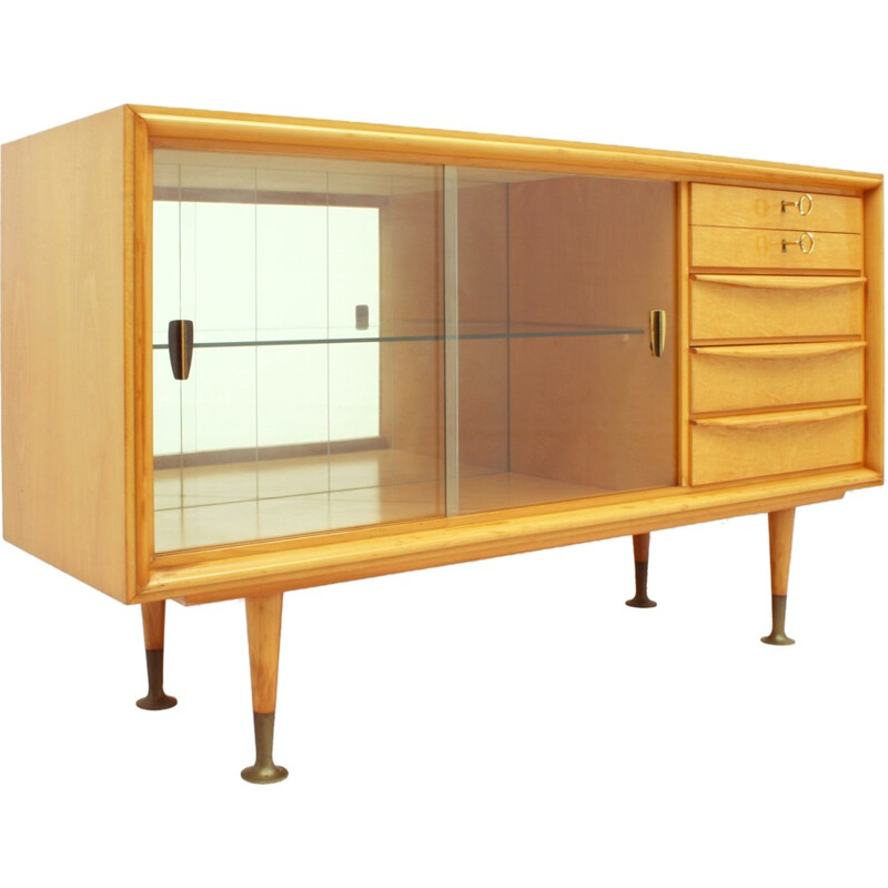 Small Cherrywood Sideboard With Glass Doors - 1950s