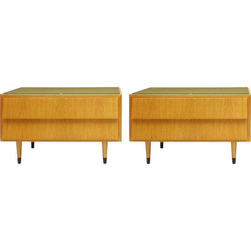 Pair Of Ash Wood Nightstands With Glass Tops - 1950s