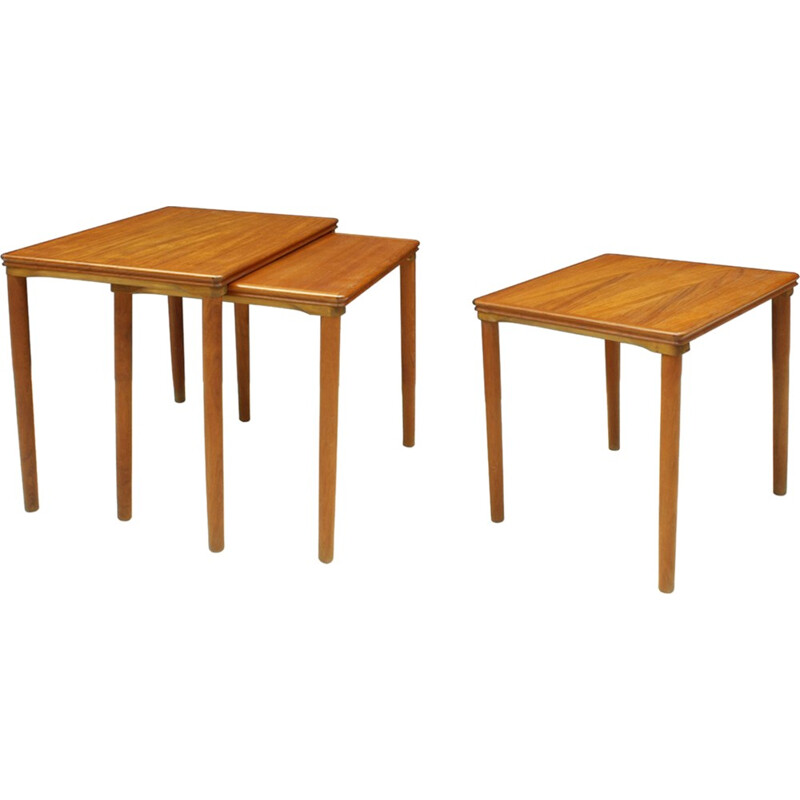 Set Of 3 Danish Teak Nesting Tables by E. W. Bach for Møbelfabrikken Toften - 1960s