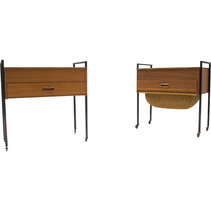 Set of 2 Scandinavian Sewing tables - 1960s