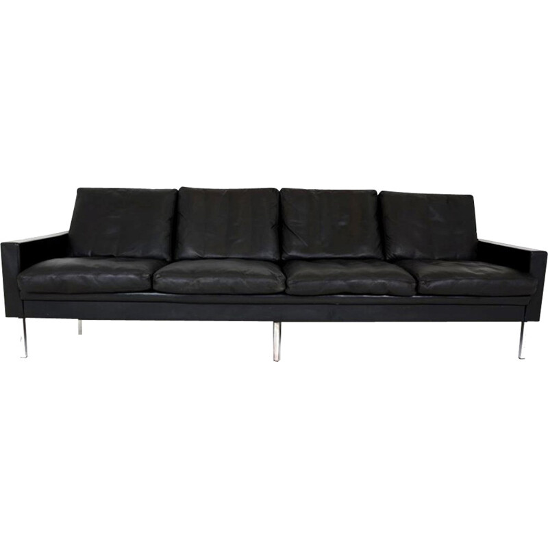 4-seater vintage sofa in black leather - 1960s