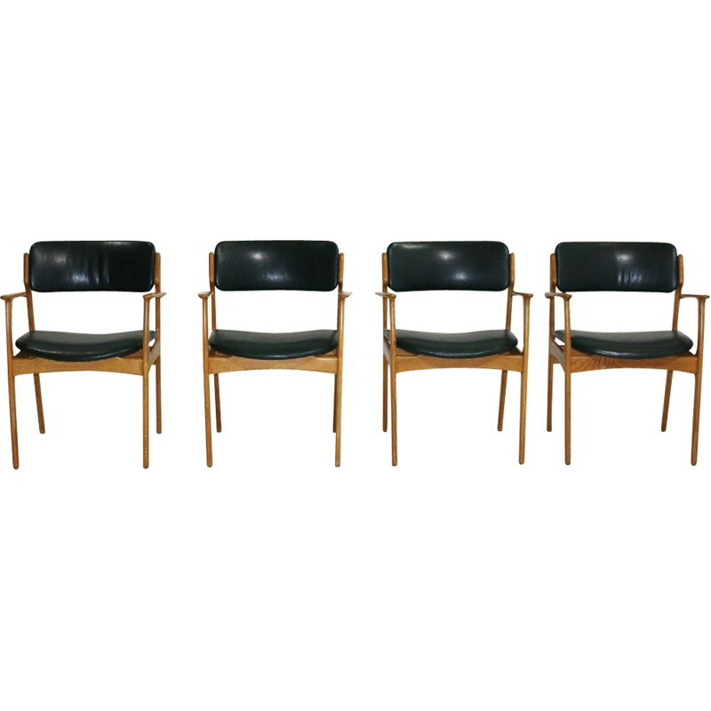 Set of 4 Oak Armchairs by Erik Buch for O.D. Møbler - 1950s