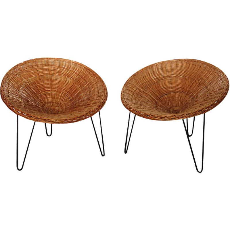 "Set of 2 vintage ""shell"" armchairs in rattan - 1960s"